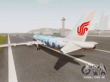 Airbus A320 Air China para GTA San Andreas traseira esquerda vista