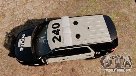 Ford Explorer 2013 LCPD [ELS] Black and Gray para GTA 4 vista direita