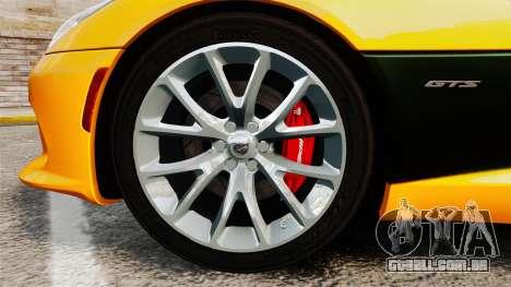 Dodge Viper SRT GTS 2013 para GTA 4 vista de volta