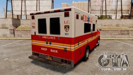 Brute FDLC Ambulance para GTA 4 traseira esquerda vista
