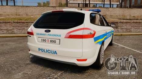 Ford Mondeo Croatian Police [ELS] para GTA 4 traseira esquerda vista
