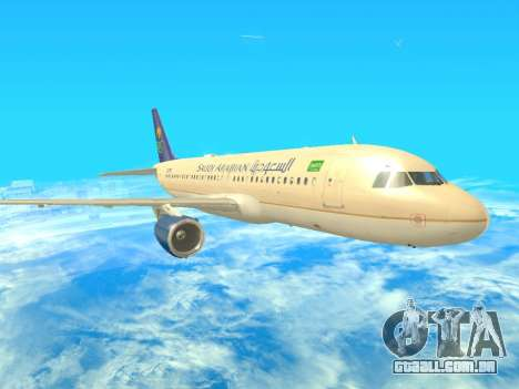 Airbus A320-200 Saudi Arabian para GTA San Andreas esquerda vista