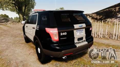 Ford Explorer 2013 LCPD [ELS] Black and Gray para GTA 4 traseira esquerda vista