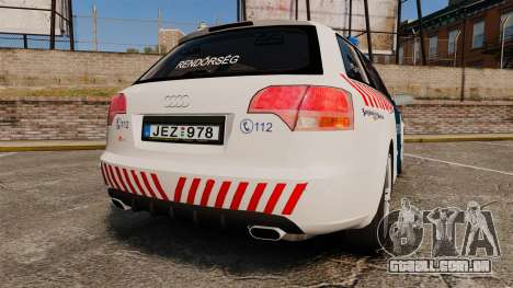 Audi S4 Avant Hungarian Police [ELS] para GTA 4 traseira esquerda vista