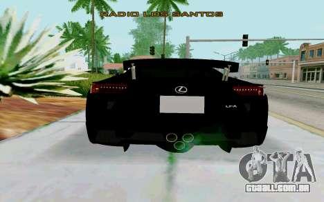 Lexus LFA Street Edition Djarum Black para GTA San Andreas traseira esquerda vista