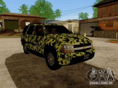 Chevrolet TrailBlazer Army para GTA San Andreas esquerda vista