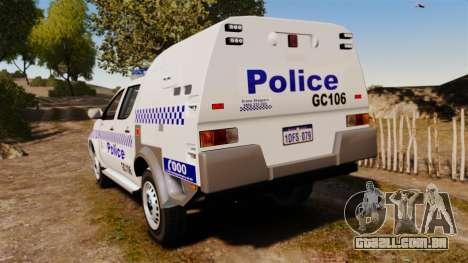 Toyota Hilux Police Western Australia para GTA 4 traseira esquerda vista