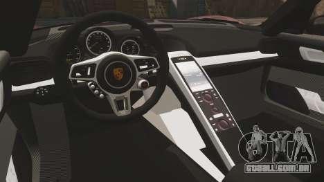 Porsche 918 Spyder para GTA 4 vista interior