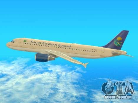 Airbus A320-200 Saudi Arabian para GTA San Andreas traseira esquerda vista