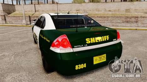 Chevrolet Impala 2010 Broward Sheriff [ELS] para GTA 4 traseira esquerda vista
