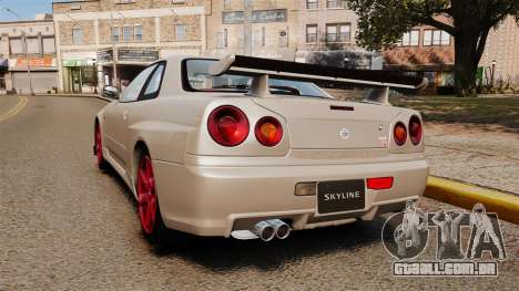 Nissan Skyline GT-R R34 V-Spec II para GTA 4 traseira esquerda vista