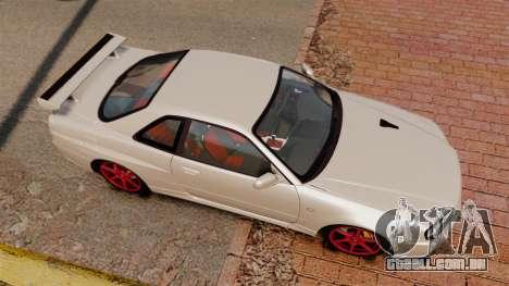 Nissan Skyline GT-R R34 V-Spec II para GTA 4 vista direita