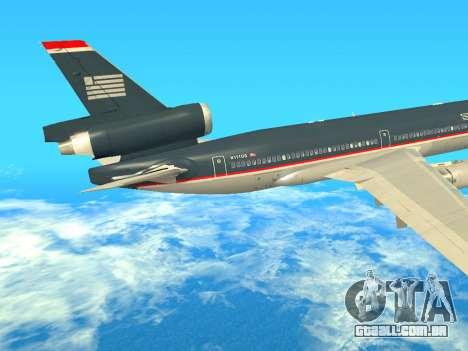 McDonnell Douglas MD-11 US Airways para GTA San Andreas vista traseira