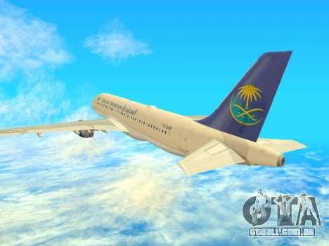 Airbus A320-200 Saudi Arabian para GTA San Andreas vista direita