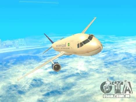 Airbus A320-200 Saudi Arabian para GTA San Andreas vista traseira