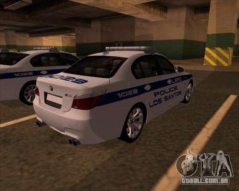 BMW M5 E60 Police LS para GTA San Andreas traseira esquerda vista