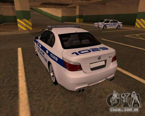 BMW M5 E60 Police LS para GTA San Andreas esquerda vista