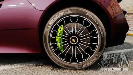 Porsche 918 Spyder para GTA 4 vista de volta