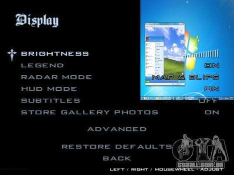 O Menu Do Windows para GTA San Andreas sexta tela