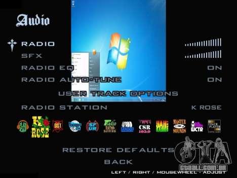 O Menu Do Windows para GTA San Andreas quinto tela