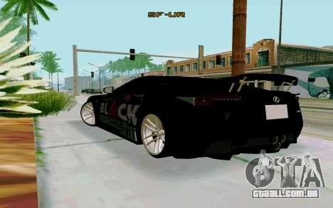 Lexus LFA Street Edition Djarum Black para GTA San Andreas esquerda vista