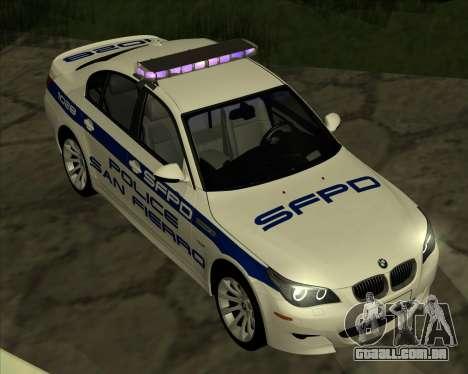 BMW M5 E60 Police SF para GTA San Andreas traseira esquerda vista