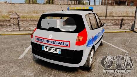 Renault Scenic Police Municipale [ELS] para GTA 4 traseira esquerda vista