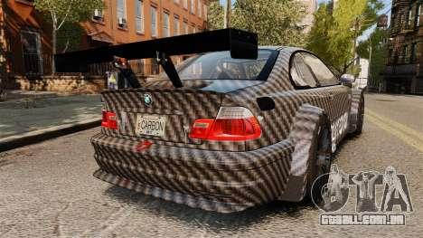 BMW M3 GTR 2012 Drift Edition para GTA 4 traseira esquerda vista
