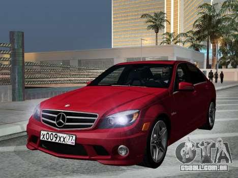 Mercedes-Benz C63 AMG HQLM para GTA San Andreas vista traseira