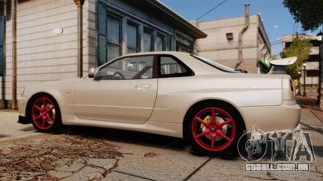 Nissan Skyline GT-R R34 V-Spec II para GTA 4 esquerda vista
