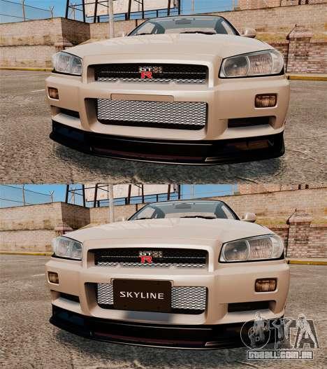 Nissan Skyline GT-R R34 V-Spec II para GTA 4 vista inferior