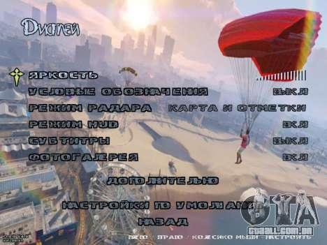 New Menu GTA 5 para GTA San Andreas por diante tela