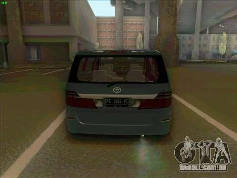 Toyota Alphard para GTA San Andreas traseira esquerda vista