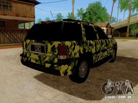 Chevrolet TrailBlazer Army para GTA San Andreas vista traseira