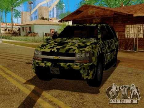 Chevrolet TrailBlazer Army para vista lateral GTA San Andreas