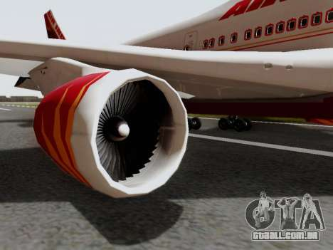 Boeing 747 Air India para GTA San Andreas vista direita