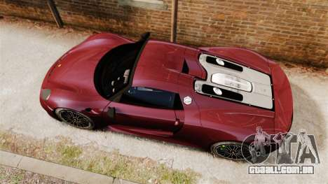 Porsche 918 Spyder para GTA 4 vista direita
