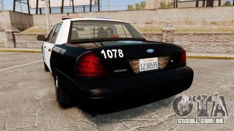 Ford Crown Victoria San Francisco Police [ELS] para GTA 4 traseira esquerda vista
