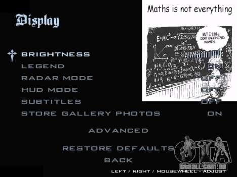 New Menu 2001 para GTA San Andreas por diante tela