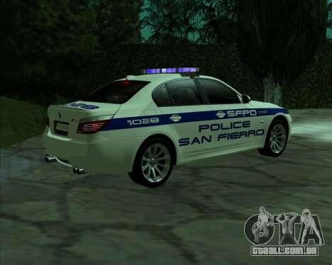 BMW M5 E60 Police SF para GTA San Andreas esquerda vista