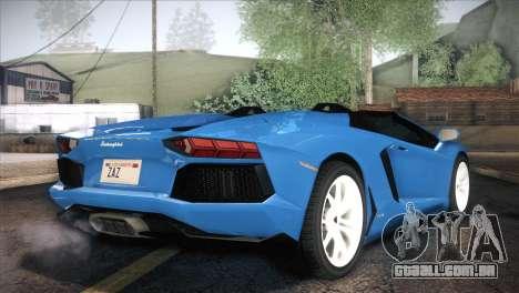 Lamborghini Aventador Roadster para GTA San Andreas traseira esquerda vista