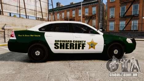 Chevrolet Impala 2010 Broward Sheriff [ELS] para GTA 4 esquerda vista