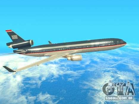 McDonnell Douglas MD-11 US Airways para GTA San Andreas traseira esquerda vista