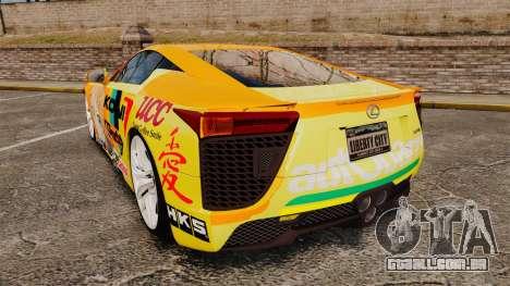 Lexus LF-A 2010 [EPM] Goodsmile Racing para GTA 4 traseira esquerda vista