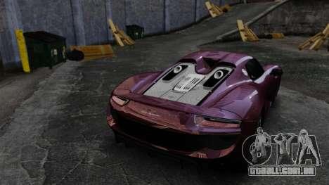 Porsche 918 Spyder para GTA 4 vista lateral