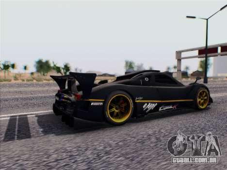 Pagani Zonda R 2009 para GTA San Andreas traseira esquerda vista