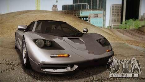 McLaren F1 para GTA San Andreas traseira esquerda vista