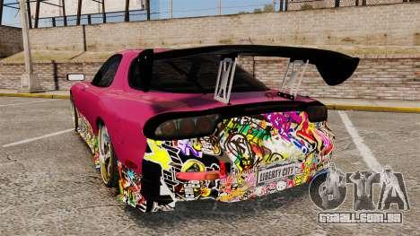 Mazda RX-7 D1 Sticker Bomb para GTA 4 traseira esquerda vista