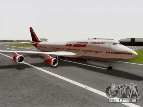 Boeing 747 Air India para GTA San Andreas traseira esquerda vista