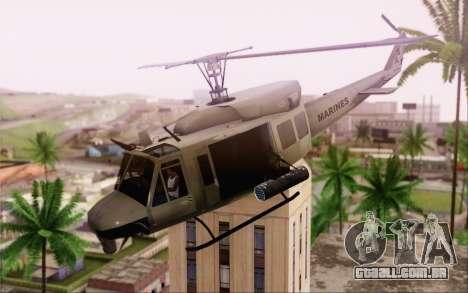 Bell UH-1N Twin Huey para GTA San Andreas traseira esquerda vista